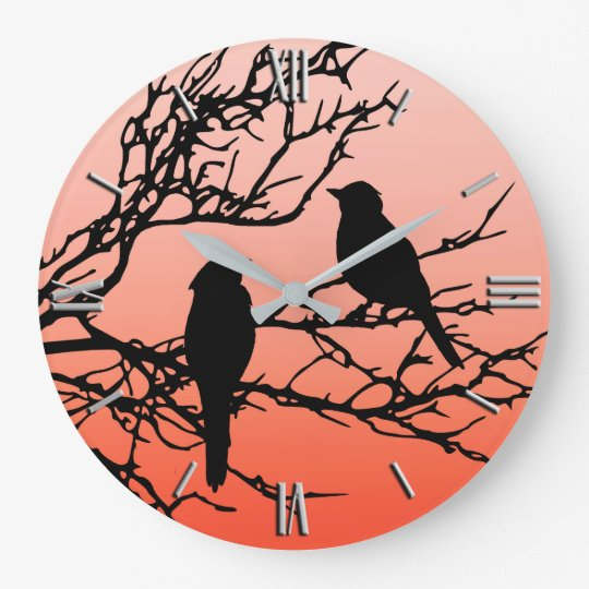 Birds on a Branch, Black Against Sunset Orange Wall Clocks