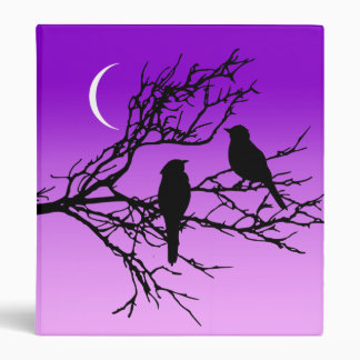 Birds on a Branch, Black Against Twilight Purple Binders