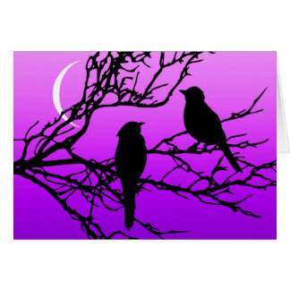 Birds on a Branch, Black Against Twilight Purple Card