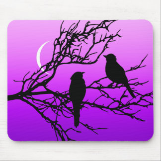 Birds on a Branch, Black Against Twilight Purple Mouse Pad