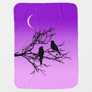 Birds on a Branch, Black Against Twilight Purple Stroller Blanket
