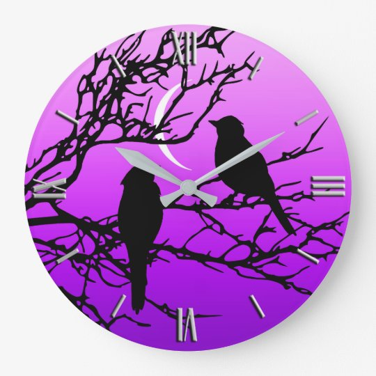 Birds on a Branch, Black Against Twilight Purple Wall Clocks