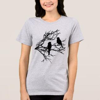 Birds on a Branch, Black Silhouette T-Shirt