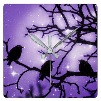 Birds on a Branch - Purple Starlight Wall Clock