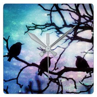 Birds on a Branch - Starlight Wall Clock