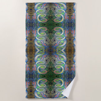 birds on a coil pattern beach towel