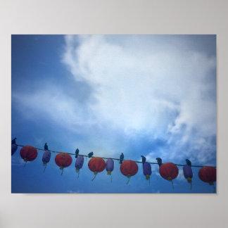 Birds on a lantern wire poster