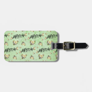 Birds on a Limb Floral on Green Luggage Tag