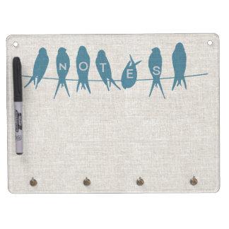 Birds on a Line Linen Look Dry Erase Board