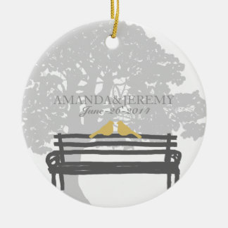 Birds on a Park Bench Wedding Anniversary Ceramic Ornament