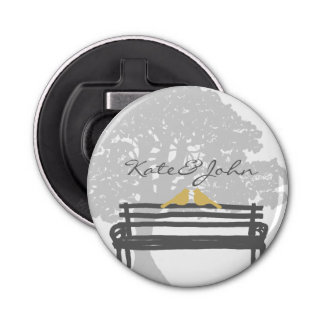 Birds on a Park Bench Wedding Bottle Opener
