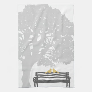Birds on a Park Bench Wedding Kitchen Towel
