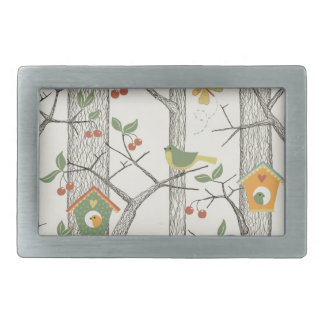 Birds on a Tree Rectangular Belt Buckles