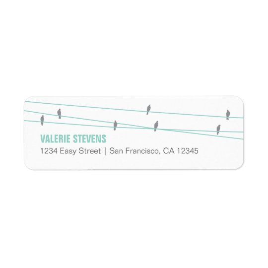 Birds on a Wire Address Label (Blue)