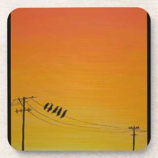 Birds On A Wire at Sunset Coaster