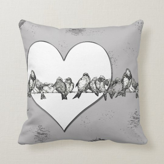 Birds on a Wire Heart Throw PIllow