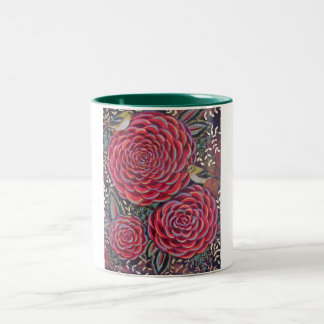 Birds on Blossoms Two-Tone Coffee Mug