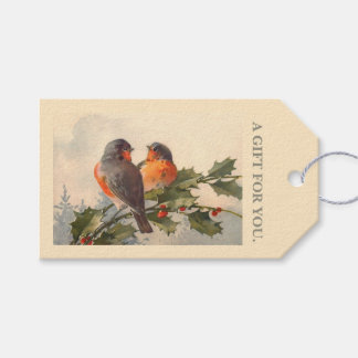 Birds on holly branch gift tags