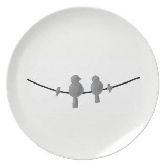 birds on line melamine plate