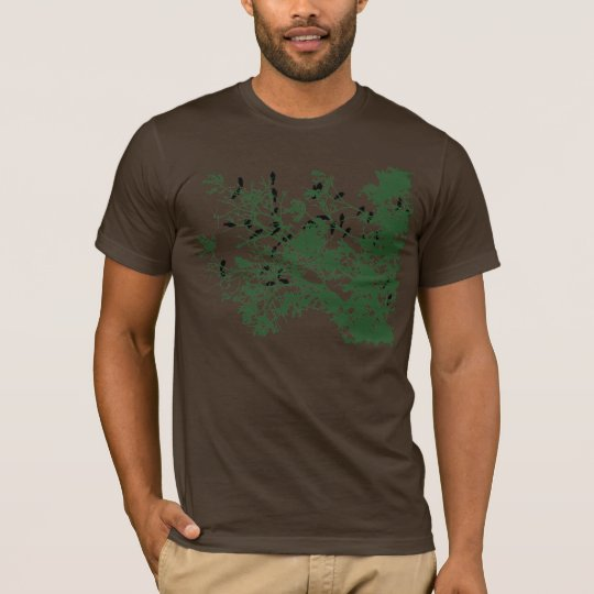 Birds on tree dark t-shirt