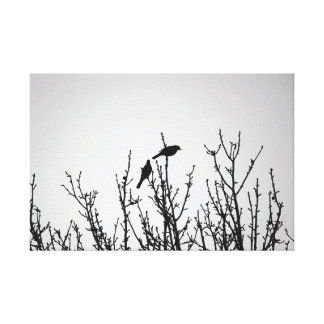 Birds on Tree Top Black and White Canvas Print