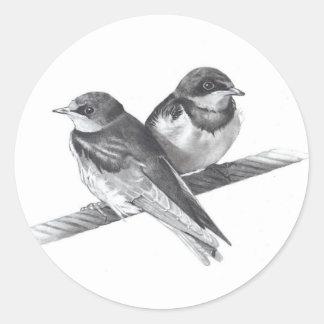 BIRDS ON WIRE: BABIES: PENCIL ARTWORK ROUND STICKER