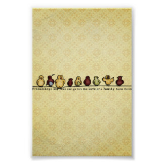 Birds on wire yellow background family quote poster