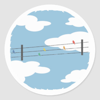 Birds on Wires Classic Round Sticker