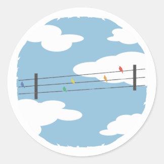 Birds on Wires Round Sticker