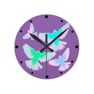 Birds Pastel Round Clock