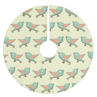 Birds pattern brushed polyester tree skirt