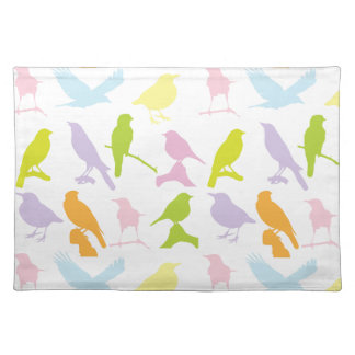 BIRDS PATTERN, COORFUL BIRD SILHOUETTES DESIGN PLACEMAT