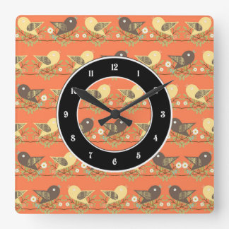 Birds pattern square wall clock