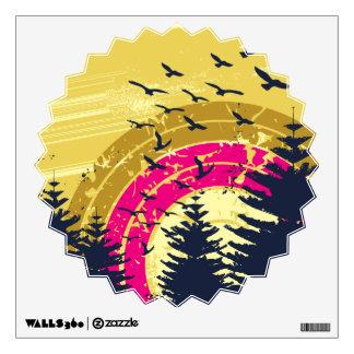 Birds & Rainbow In The Golden Sky Wall Sticker