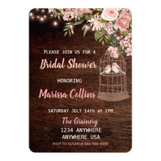 Birds Rustic Bridal shower Invitation String light