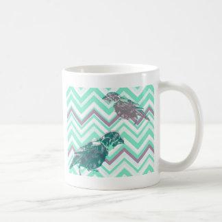 Birds screen printed on geometrical bottom coffee mug