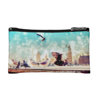 Birds, sea gulls - River thames view, London Cosmetic Bag