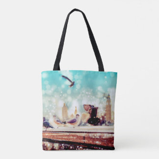 Birds, sea gulls - River thames view, London Tote Bag