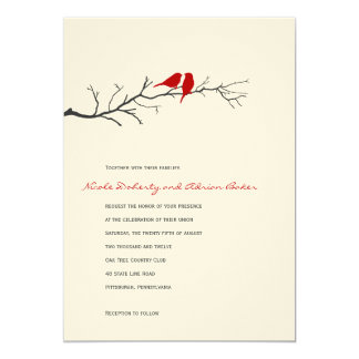 Birds Silhouettes Wedding Invitation - Red - Personalized Invites