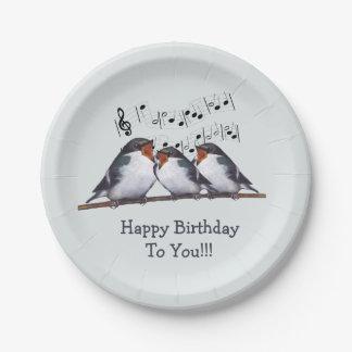 Birds Singing Happy Birthday, Original Art Paper Plate