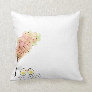 Birds Under a Tree Doodle Throw Pillow