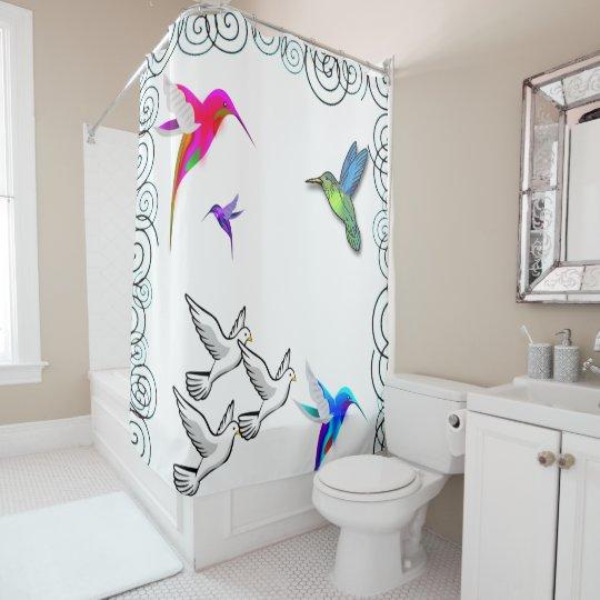 birds white shower curtain