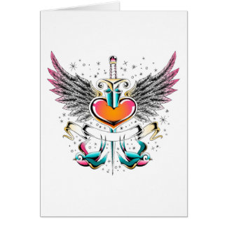 Birds wings heart sword tattoo greeting card