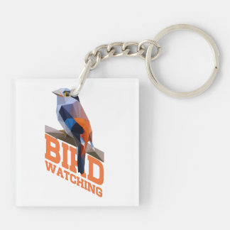 Birdwatching Double-Sided Square Acrylic Keychain
