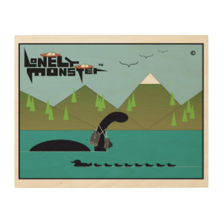 Birdwatching Lonely Monster Wood Wall Art