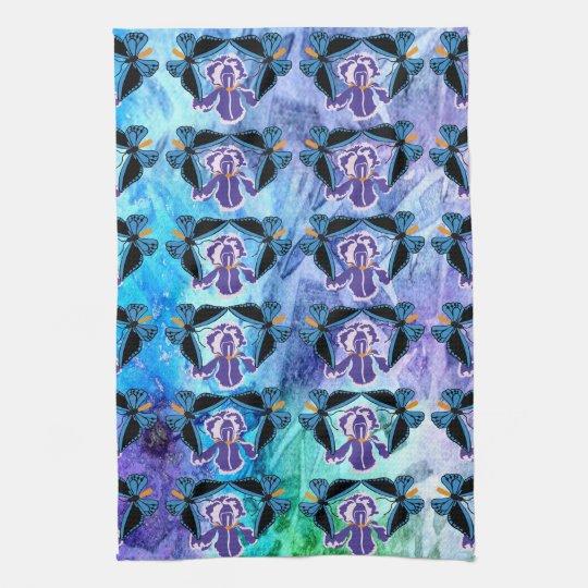 Birdwing Butterfly on Iris Hand Towel