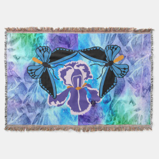 Birdwing Butterfly on Iris Throw Blanket