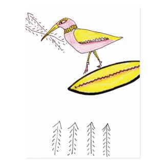 Birdy with twig arrows postcard