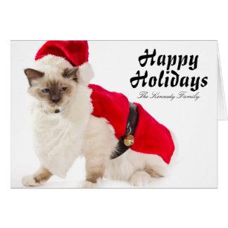 Birman Cat In Santa Suit Card