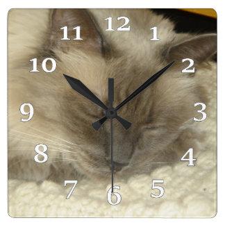 Birman Cat Sleepy Time  Wall Clock